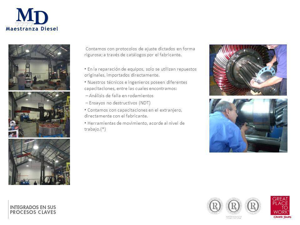 Contamos con protocolos de ajuste dictados en forma rigurosa; a través de catálogos por el fabricante. En la reparación de equipos, solo se utilizan r