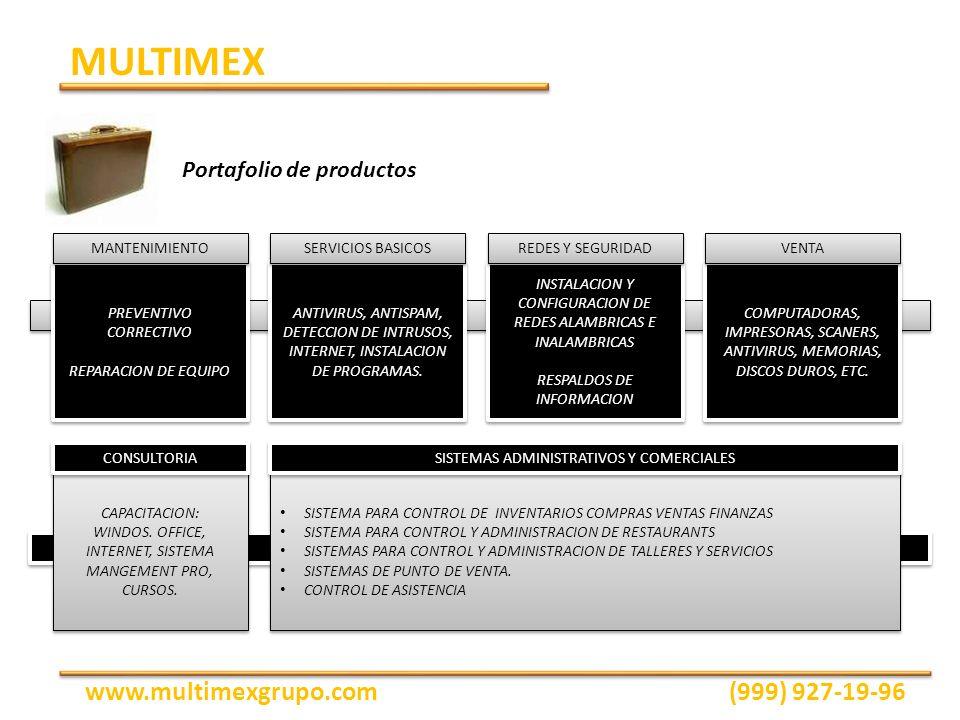 Portafolio de productos PREVENTIVO CORRECTIVO REPARACION DE EQUIPO PREVENTIVO CORRECTIVO REPARACION DE EQUIPO MANTENIMIENTO ANTIVIRUS, ANTISPAM, DETEC