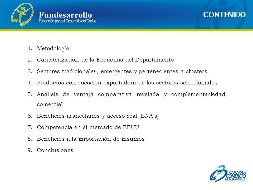 1.Metodología 2.Caracterización de la Economía del Departamento 3.Sectores tradicionales, emergentes y pertenecientes a clusters 4.Productos con vocac