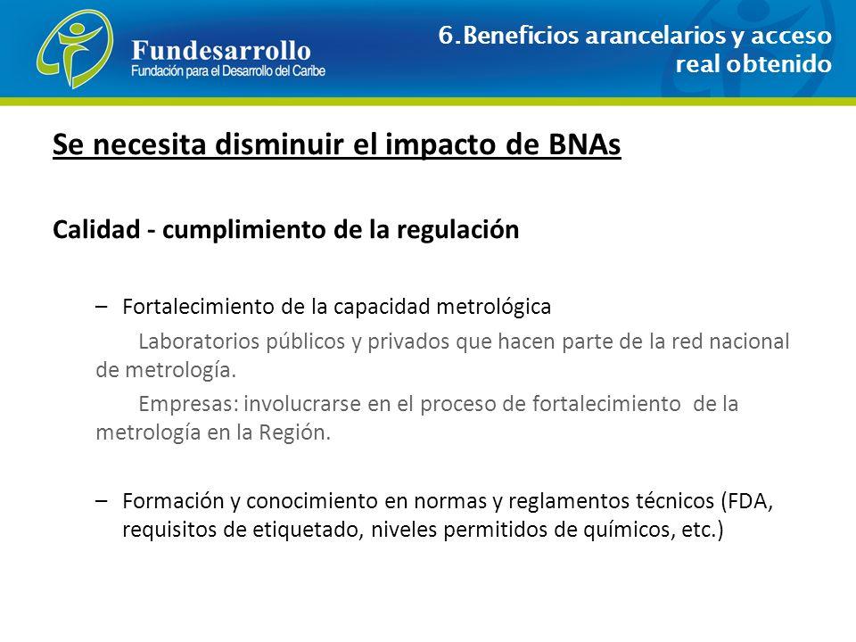Se necesita disminuir el impacto de BNAs Calidad - cumplimiento de la regulación –Fortalecimiento de la capacidad metrológica Laboratorios públicos y