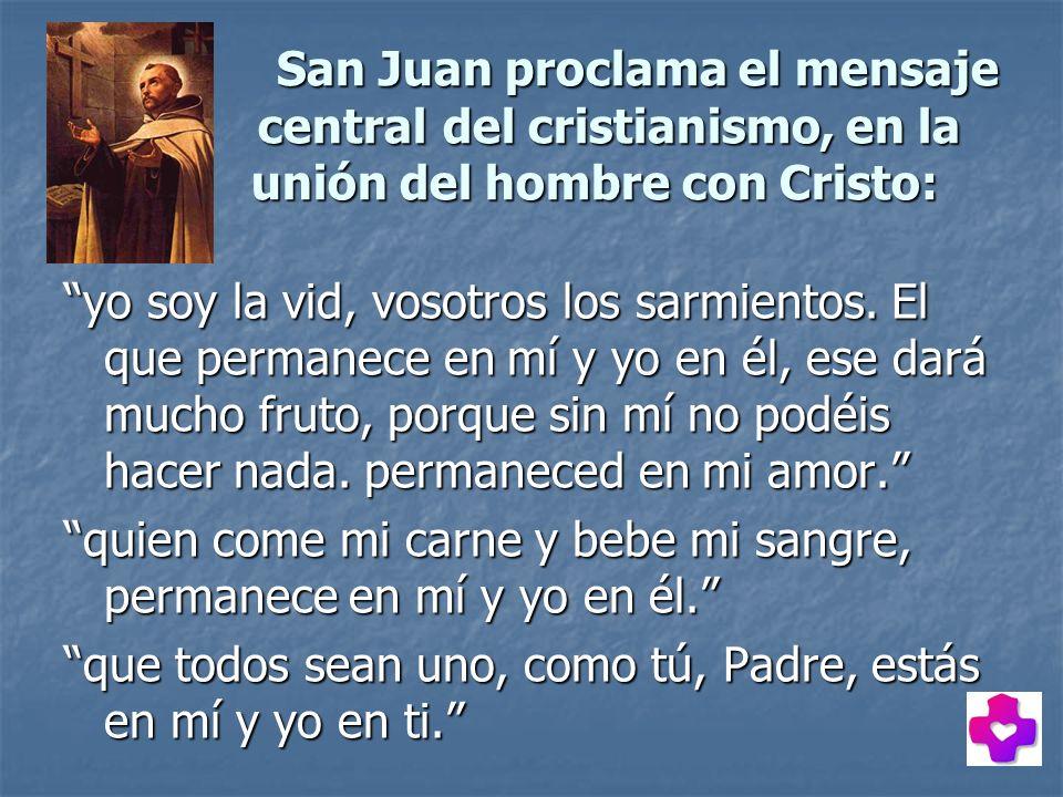 San Juan proclama el mensaje central del cristianismo, en la unión del hombre con Cristo: yo soy la vid, vosotros los sarmientos. El que permanece en