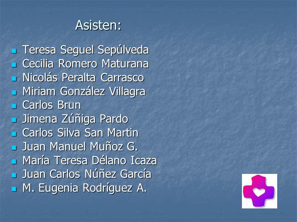 Asisten: Teresa Seguel Sepúlveda Teresa Seguel Sepúlveda Cecilia Romero Maturana Cecilia Romero Maturana Nicolás Peralta Carrasco Nicolás Peralta Carr
