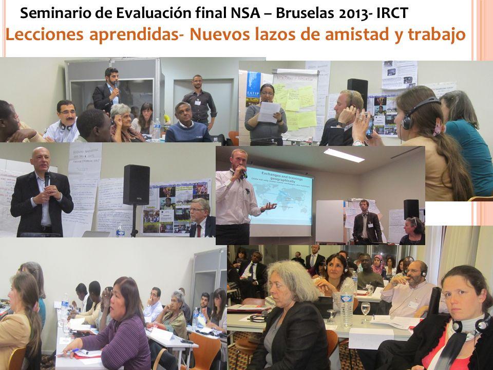 Seminario de Evaluación final NSA – Bruselas 2013- IRCT Lecciones aprendidas- Nuevos lazos de amistad y trabajo www.eatip.org.ar