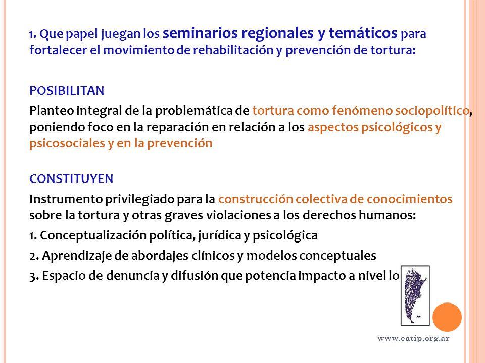 1. Que papel juegan los seminarios regionales y temáticos para fortalecer el movimiento de rehabilitación y prevención de tortura: POSIBILITAN Planteo