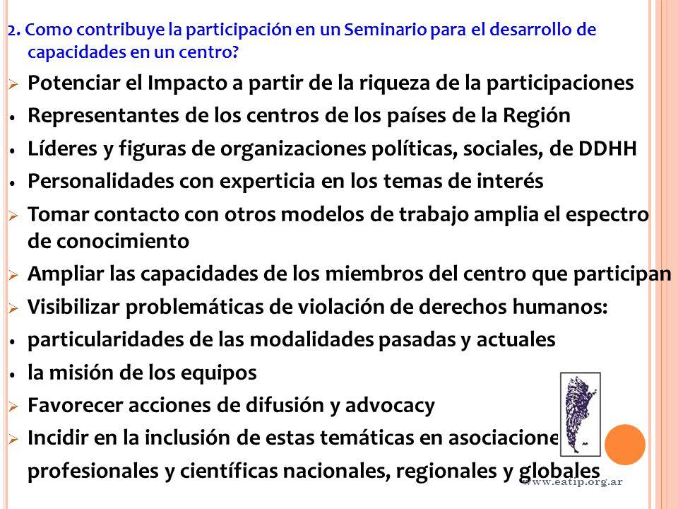 2. Como contribuye la participación en un Seminario para el desarrollo de capacidades en un centro.