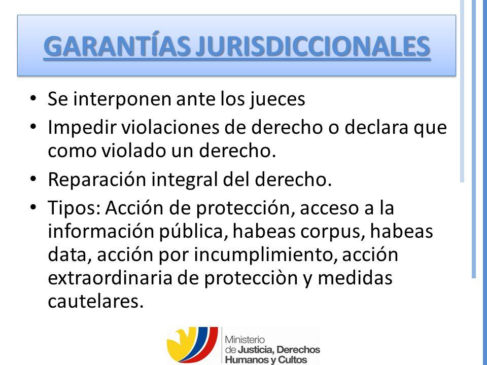 GARANTÍAS JURISDICCIONALES Se interponen ante los jueces Impedir violaciones de derecho o declara que como violado un derecho.