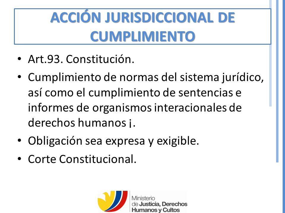 ACCIÓN JURISDICCIONAL DE CUMPLIMIENTO Art.93.Constitución.