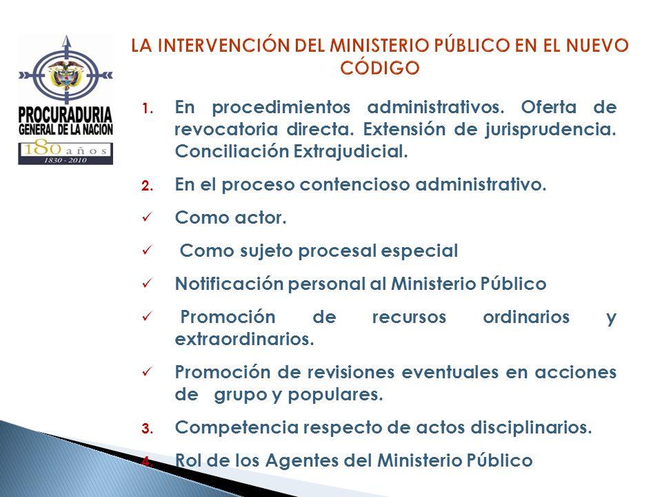 1. En procedimientos administrativos. Oferta de revocatoria directa. Extensión de jurisprudencia. Conciliación Extrajudicial. 2. En el proceso contenc