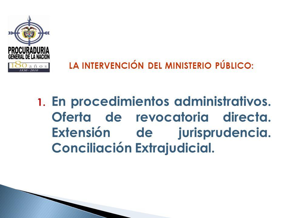 LA INTERVENCIÓN DEL MINISTERIO PÚBLICO: 1. En procedimientos administrativos. Oferta de revocatoria directa. Extensión de jurisprudencia. Conciliación