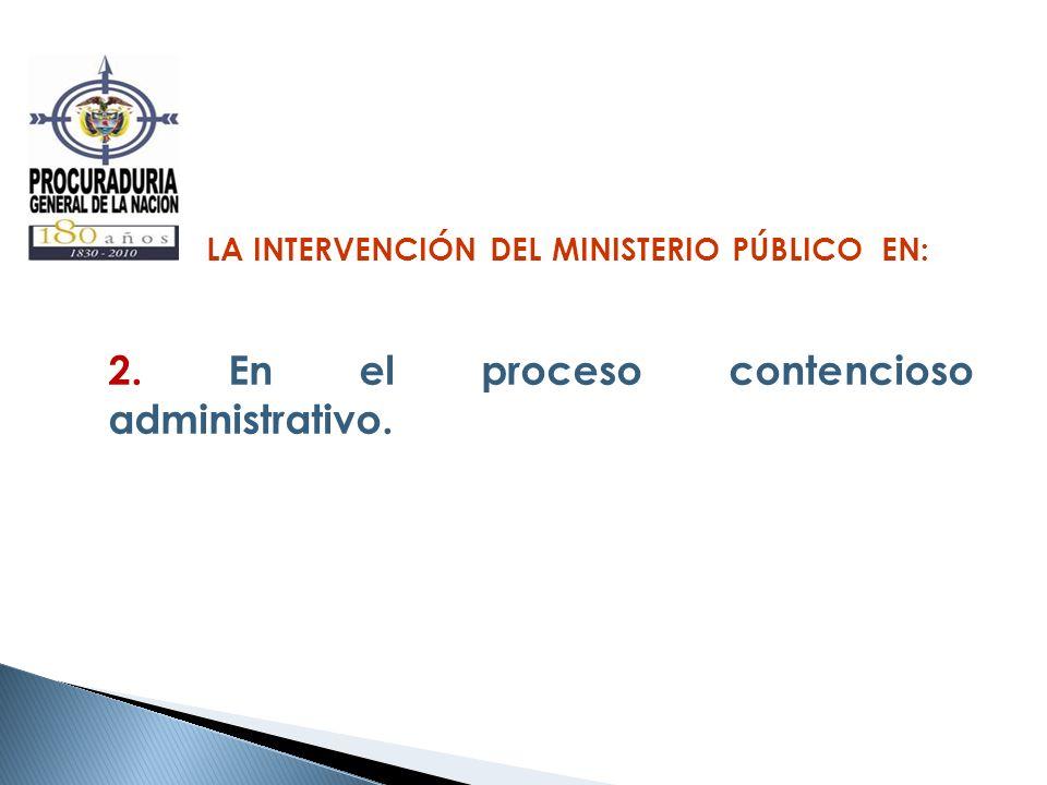 LA INTERVENCIÓN DEL MINISTERIO PÚBLICO EN: 2. En el proceso contencioso administrativo.