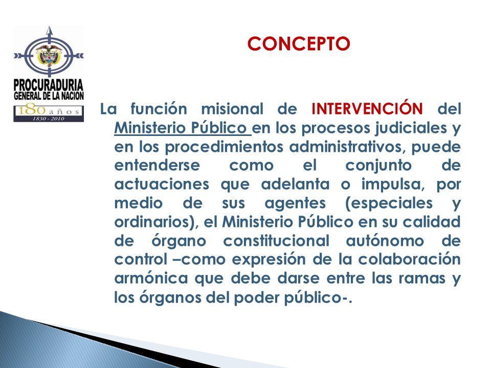 CONCEPTO La función misional de INTERVENCIÓN del Ministerio Público en los procesos judiciales y en los procedimientos administrativos, puede entender