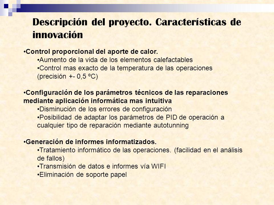 Descripción del proyecto. Características de innovación Control proporcional del aporte de calor. Aumento de la vida de los elementos calefactables Co
