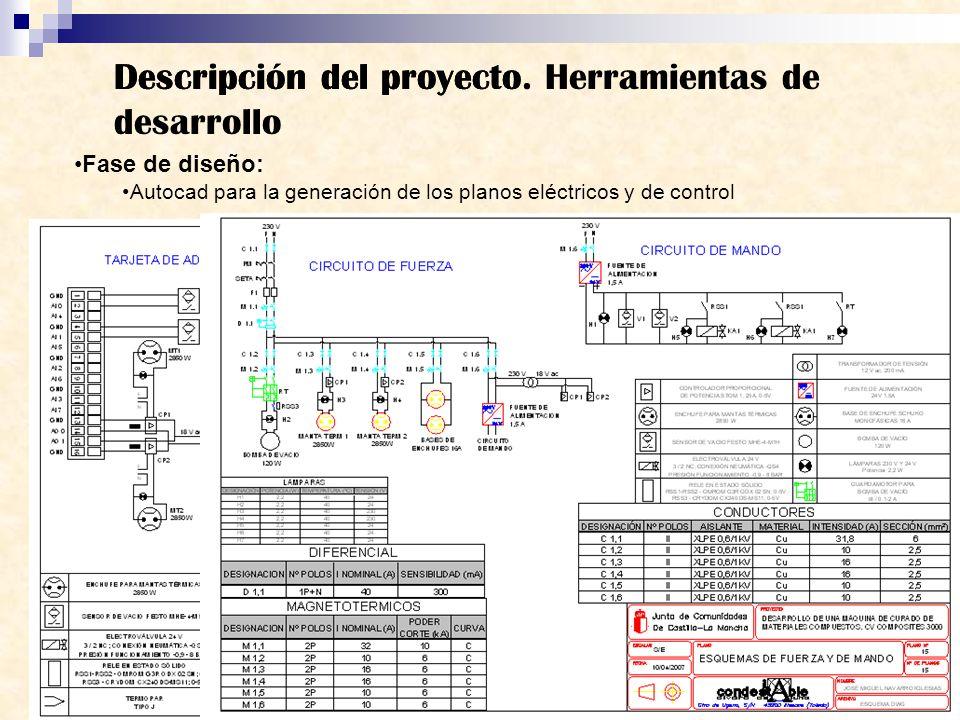 Descripción del proyecto Fase de diseño: Autocad para la generación de los planos eléctricos y de control Descripción del proyecto. Herramientas de de