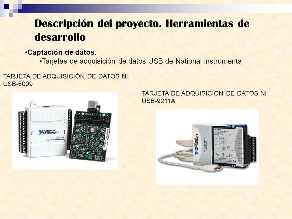 Descripción del proyecto Captación de datos: Tarjetas de adquisición de datos USB de National instruments Descripción del proyecto. Herramientas de de