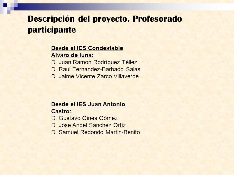 Descripción del proyecto. Profesorado participante Desde el IES Condestable Alvaro de luna: D. Juan Ramon Rodríguez Téllez D. Raul Fernandez-Barbado S