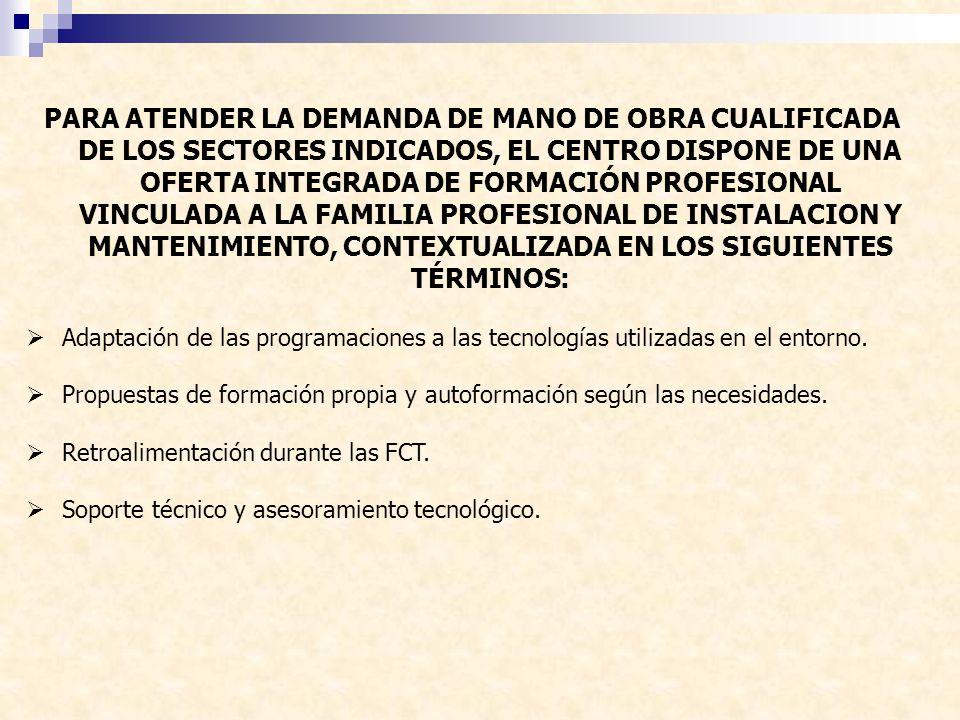 PARA ATENDER LA DEMANDA DE MANO DE OBRA CUALIFICADA DE LOS SECTORES INDICADOS, EL CENTRO DISPONE DE UNA OFERTA INTEGRADA DE FORMACIÓN PROFESIONAL VINC