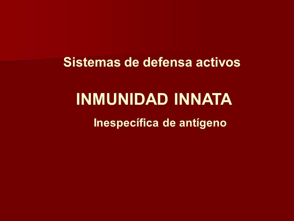 Sistemas de defensa activos INMUNIDAD INNATA Inespecífica de antígeno