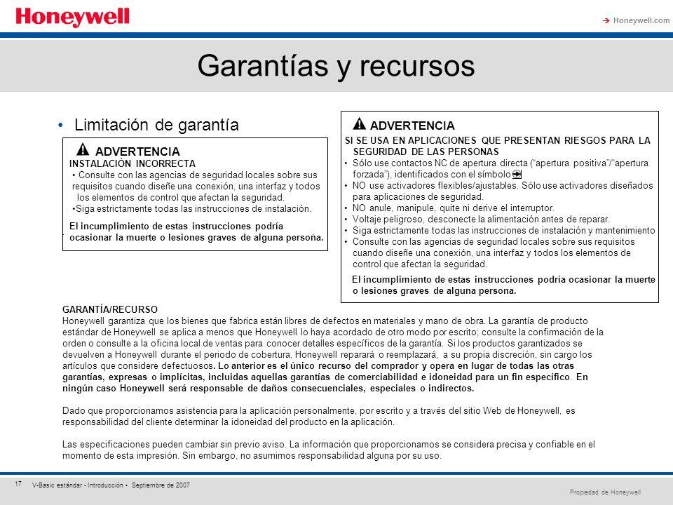 Propiedad de Honeywell Honeywell.com 17 V-Basic estándar - Introducción Septiembre de 2007 Garantías y recursos SI SE USA EN APLICACIONES QUE PRESENTA
