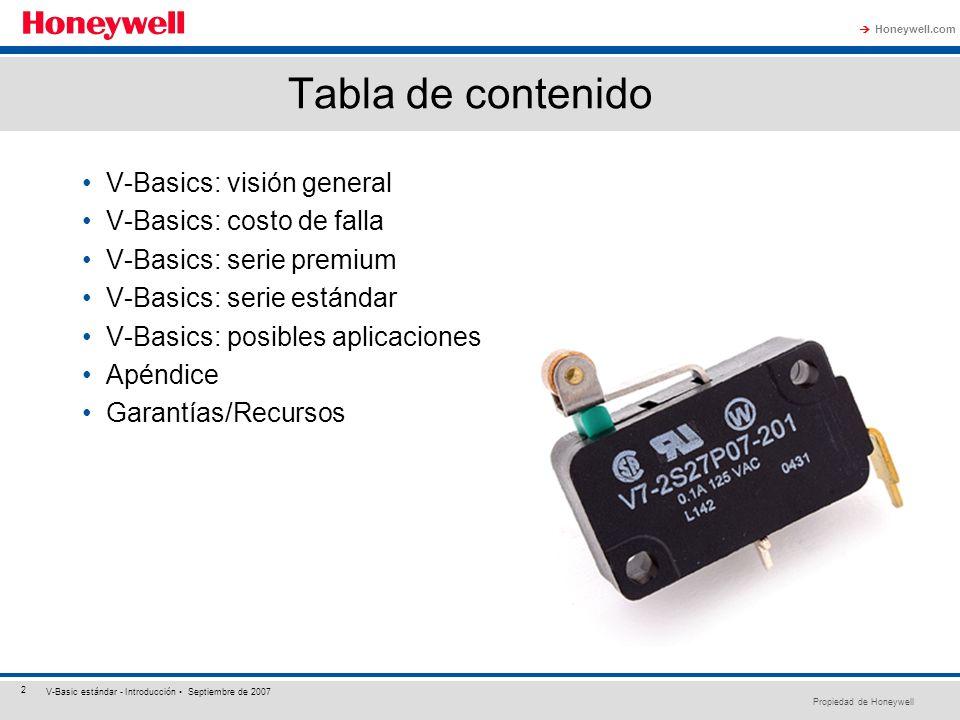 Propiedad de Honeywell Honeywell.com 2 V-Basic estándar - Introducción Septiembre de 2007 Tabla de contenido V-Basics: visión general V-Basics: costo