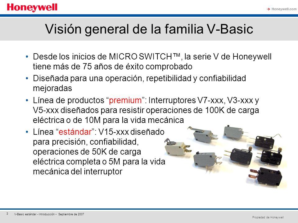 Propiedad de Honeywell Honeywell.com 3 V-Basic estándar - Introducción Septiembre de 2007 Visión general de la familia V-Basic Desde los inicios de MI