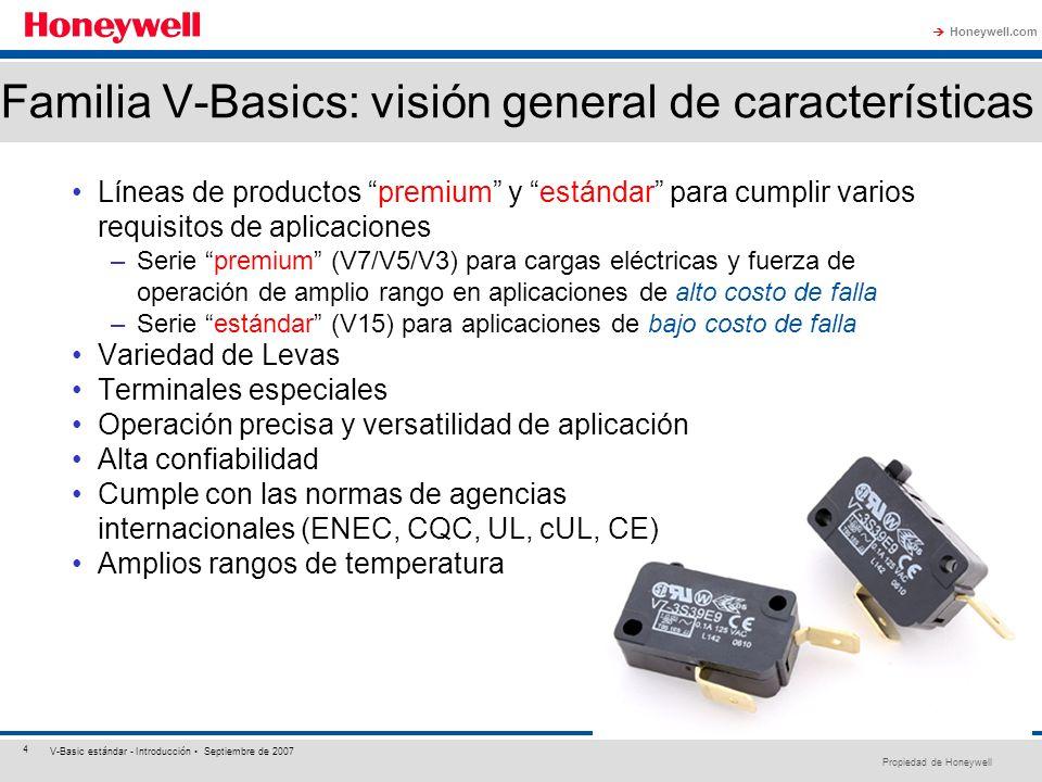 Propiedad de Honeywell Honeywell.com 4 V-Basic estándar - Introducción Septiembre de 2007 Familia V-Basics: visión general de características Líneas d