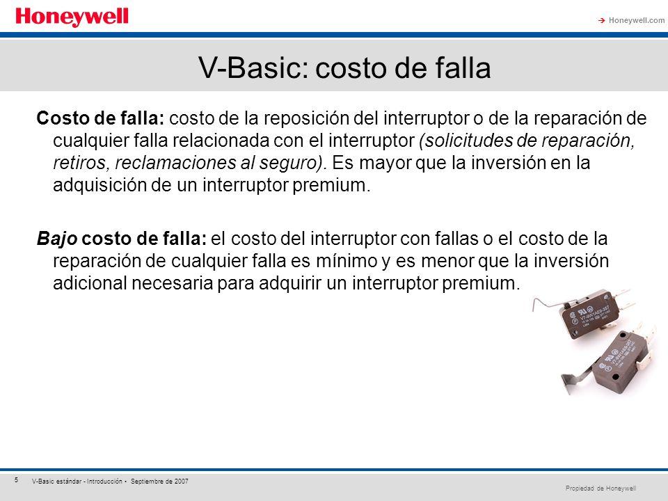 Propiedad de Honeywell Honeywell.com 5 V-Basic estándar - Introducción Septiembre de 2007 Costo de falla: costo de la reposición del interruptor o de
