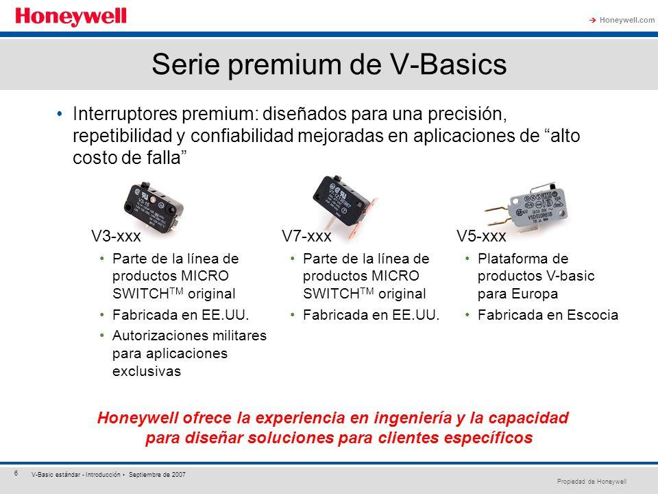 Propiedad de Honeywell Honeywell.com 6 V-Basic estándar - Introducción Septiembre de 2007 Serie premium de V-Basics Interruptores premium: diseñados p