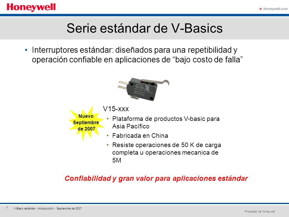 Propiedad de Honeywell Honeywell.com 7 V-Basic estándar - Introducción Septiembre de 2007 Serie estándar de V-Basics Interruptores estándar: diseñados