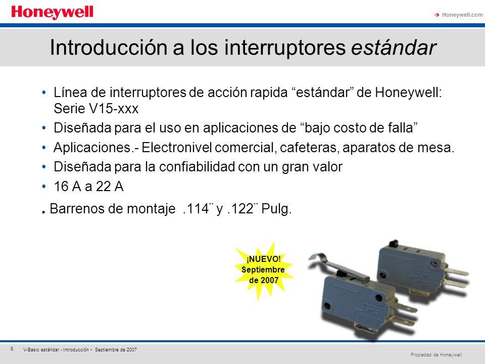 Propiedad de Honeywell Honeywell.com 8 V-Basic estándar - Introducción Septiembre de 2007 Introducción a los interruptores estándar Línea de interrupt