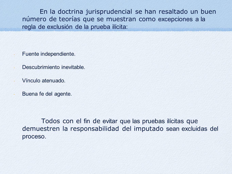 En la doctrina jurisprudencial se han resaltado un buen número de teorías que se muestran como excepciones a la regla de exclusión de la prueba ilícita: - Fuente independiente.