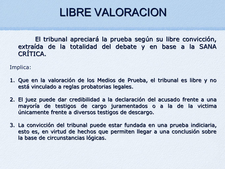 LIBRE VALORACION El tribunal apreciará la prueba según su libre convicción, extraída de la totalidad del debate y en base a la SANA CRÍTICA. Implica: