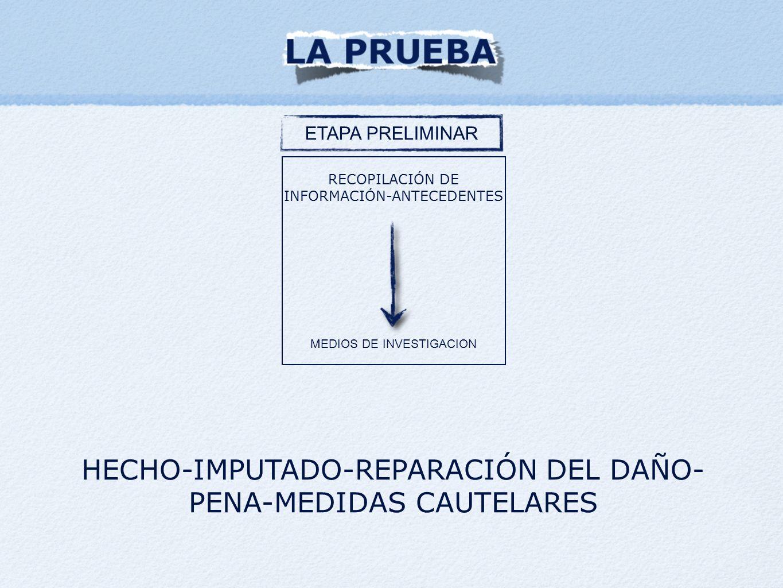 ETAPA PRELIMINAR RECOPILACIÓN DE INFORMACIÓN-ANTECEDENTES MEDIOS DE INVESTIGACION HECHO-IMPUTADO-REPARACIÓN DEL DAÑO- PENA-MEDIDAS CAUTELARES