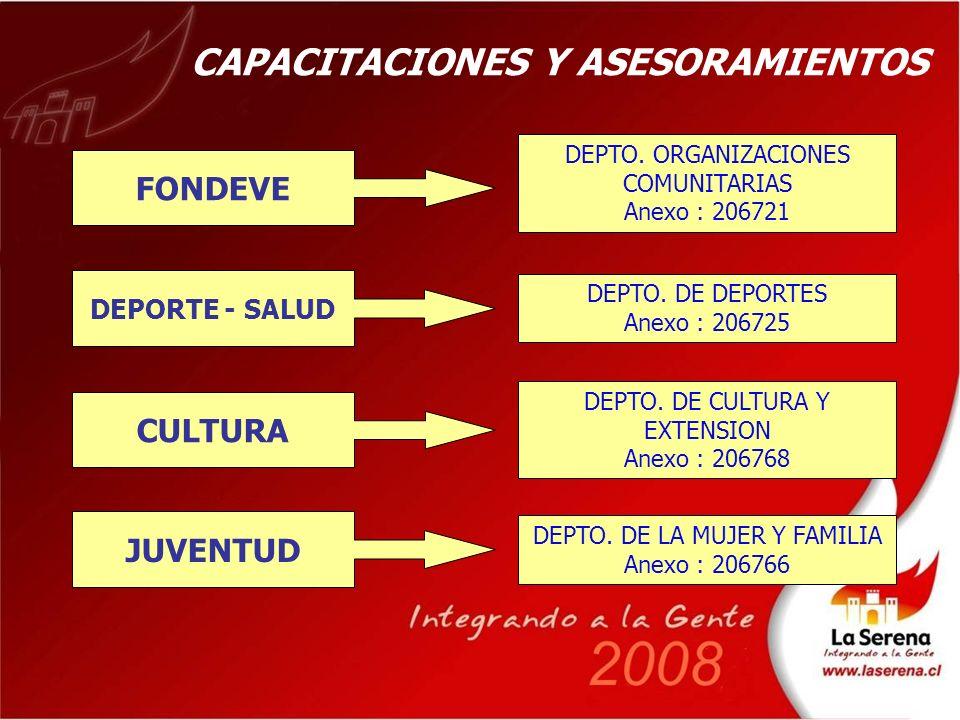 CAPACITACIONES Y ASESORAMIENTOS FONDEVE DEPTO.