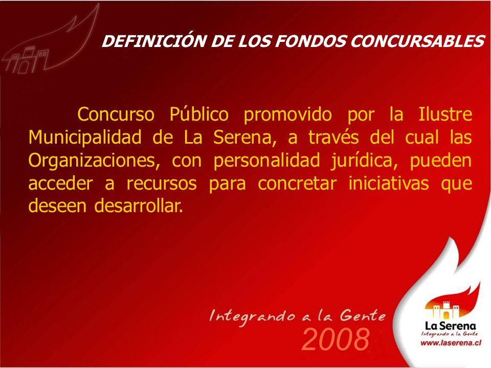 Concurso Público promovido por la Ilustre Municipalidad de La Serena, a través del cual las Organizaciones, con personalidad jurídica, pueden acceder a recursos para concretar iniciativas que deseen desarrollar.