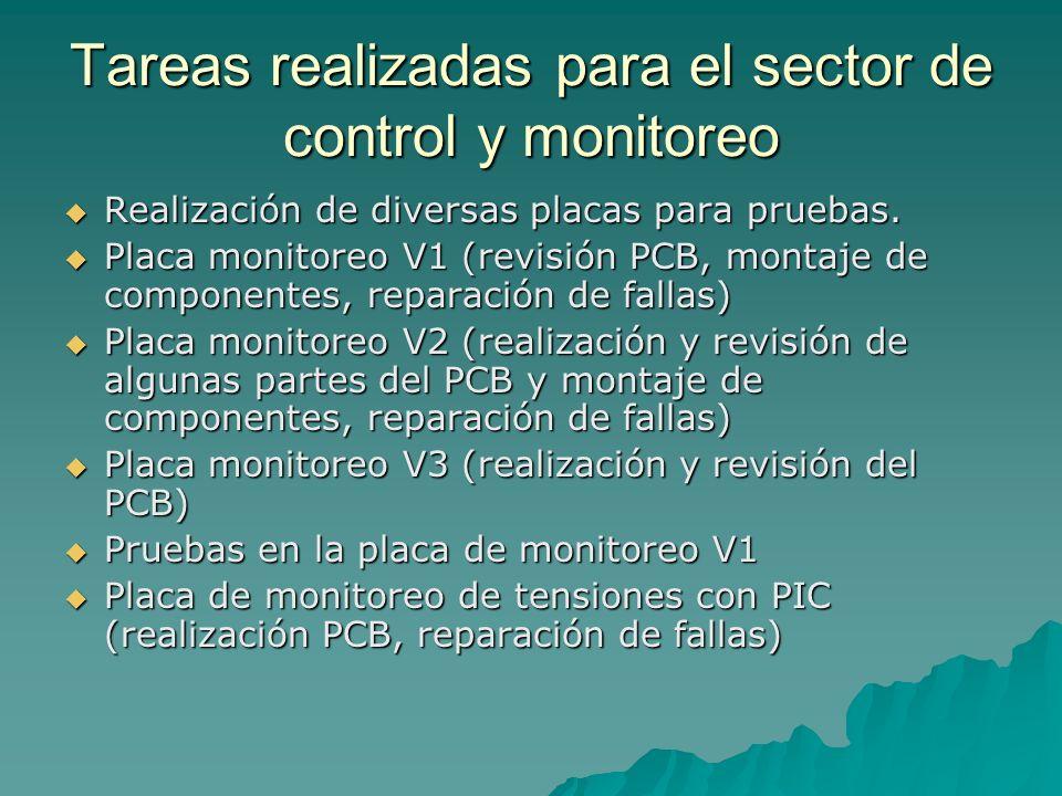 Tareas realizadas para el sector de control y monitoreo Realización de diversas placas para pruebas.