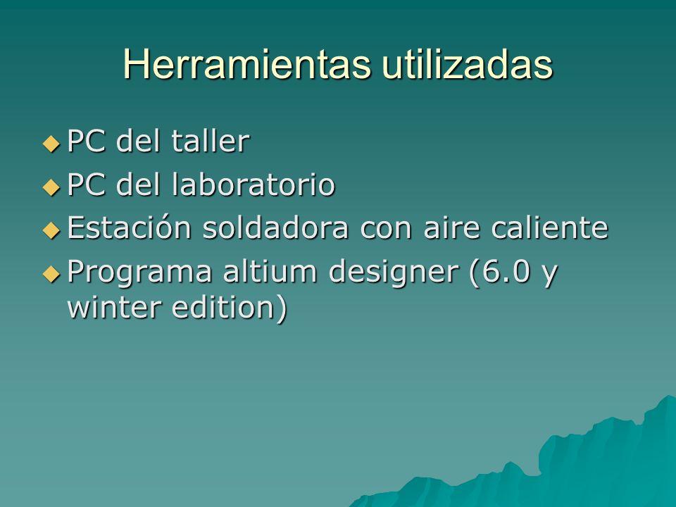 Herramientas utilizadas PC del taller PC del taller PC del laboratorio PC del laboratorio Estación soldadora con aire caliente Estación soldadora con aire caliente Programa altium designer (6.0 y winter edition) Programa altium designer (6.0 y winter edition)