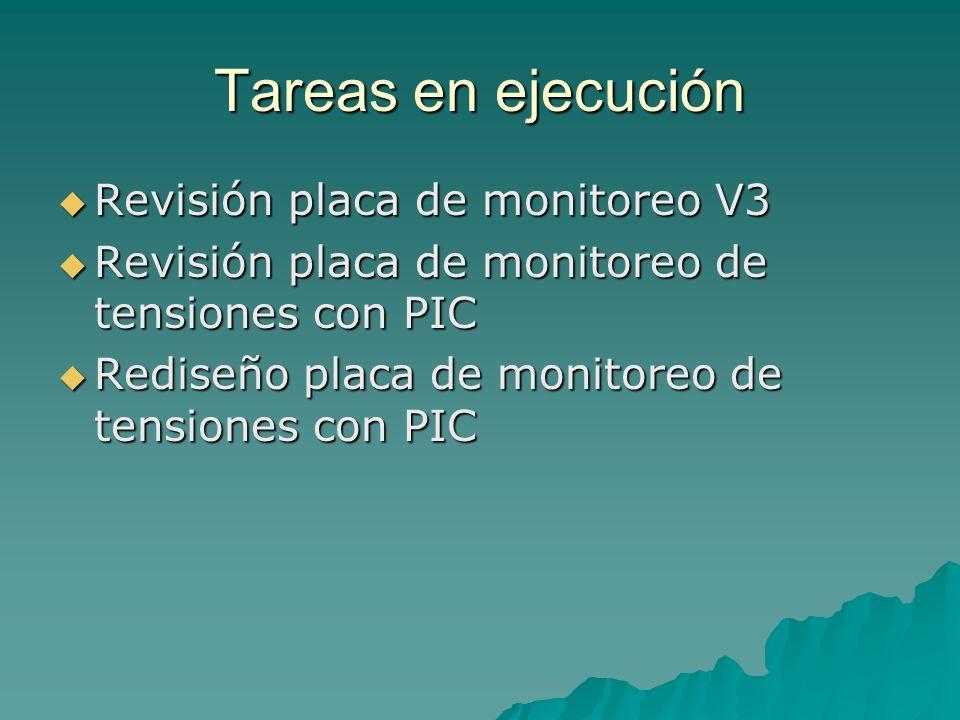 Tareas en ejecución Revisión placa de monitoreo V3 Revisión placa de monitoreo V3 Revisión placa de monitoreo de tensiones con PIC Revisión placa de monitoreo de tensiones con PIC Rediseño placa de monitoreo de tensiones con PIC Rediseño placa de monitoreo de tensiones con PIC