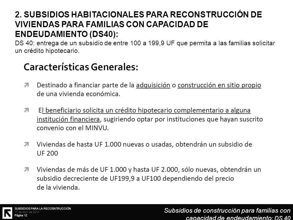 SUBSIDIOS PARA LA RECOSNTRUCCIÓN 17 de Abril de 2010 Página 12 2. SUBSIDIOS HABITACIONALES PARA RECONSTRUCCIÓN DE VIVIENDAS PARA FAMILIAS CON CAPACIDA