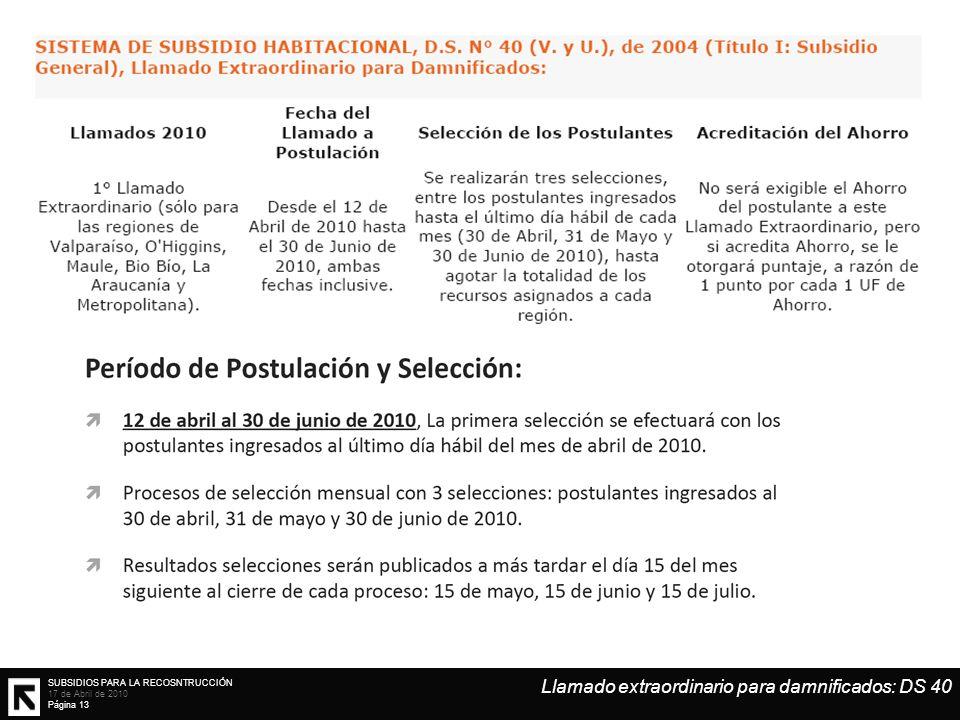 SUBSIDIOS PARA LA RECOSNTRUCCIÓN 17 de Abril de 2010 Página 13 Llamado extraordinario para damnificados: DS 40