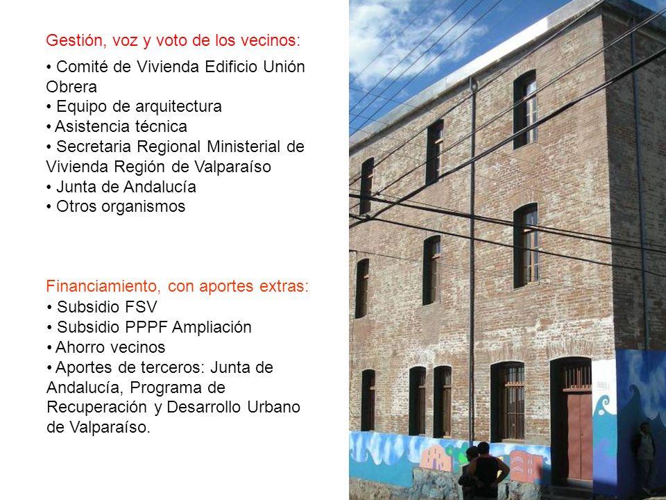 Financiamiento, con aportes extras: Subsidio FSV Subsidio PPPF Ampliación Ahorro vecinos Aportes de terceros: Junta de Andalucía, Programa de Recuperación y Desarrollo Urbano de Valparaíso.