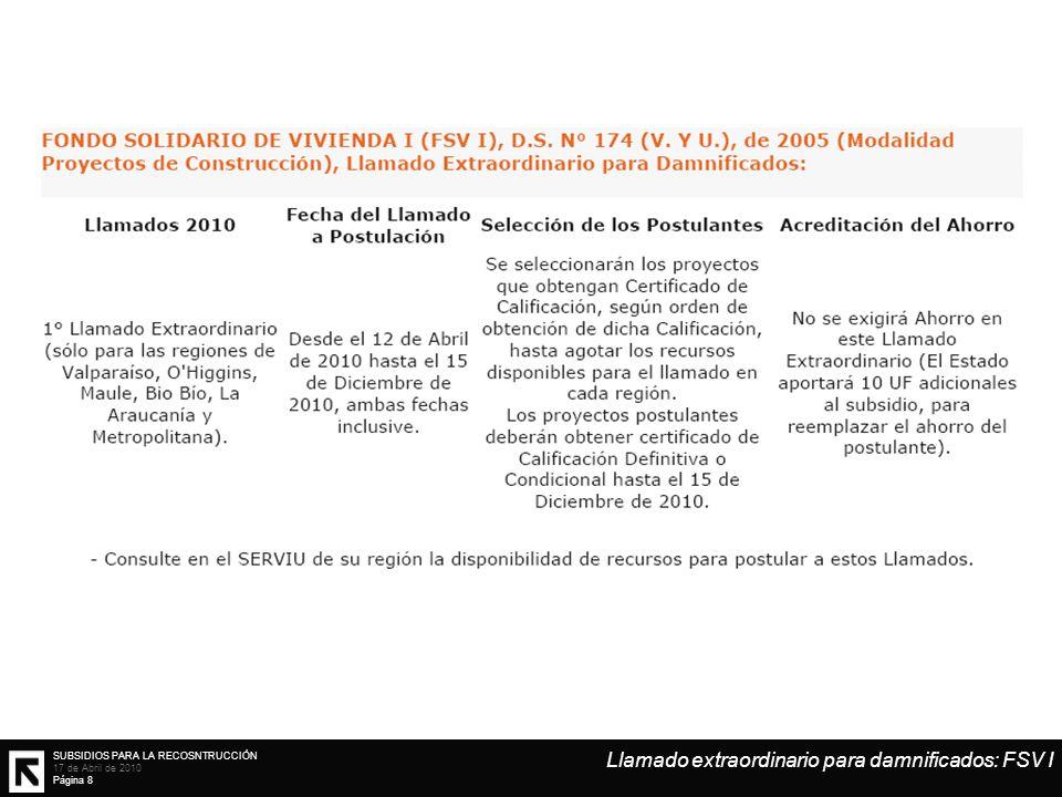 SUBSIDIOS PARA LA RECOSNTRUCCIÓN 17 de Abril de 2010 Página 8 Llamado extraordinario para damnificados: FSV I