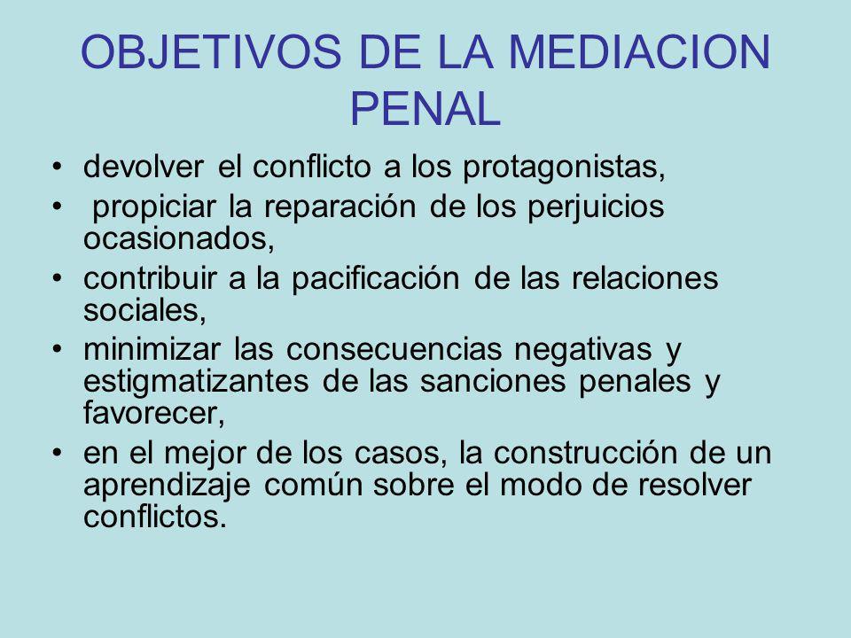 OBJETIVOS DE LA MEDIACION PENAL devolver el conflicto a los protagonistas, propiciar la reparación de los perjuicios ocasionados, contribuir a la paci