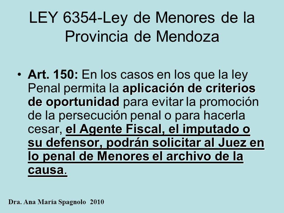 LEY 6354-Ley de Menores de la Provincia de Mendoza aplicación de criterios de oportunidad el Agente Fiscal, el imputado o su defensor, podrán solicita