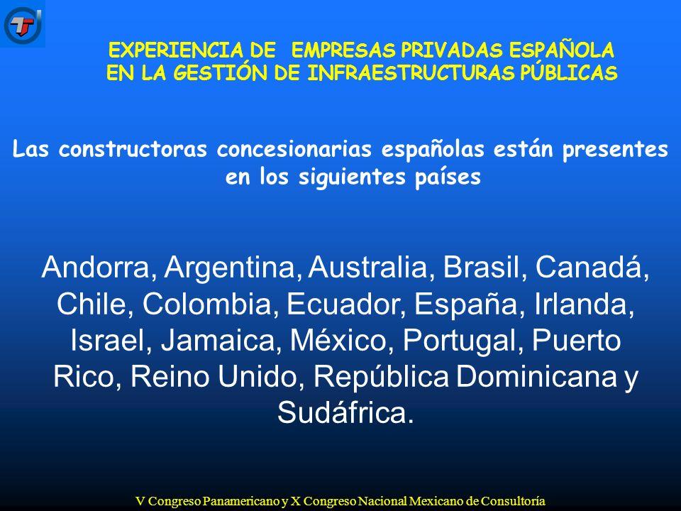 V Congreso Panamericano y X Congreso Nacional Mexicano de Consultoría Andorra, Argentina, Australia, Brasil, Canadá, Chile, Colombia, Ecuador, España, Irlanda, Israel, Jamaica, México, Portugal, Puerto Rico, Reino Unido, República Dominicana y Sudáfrica.