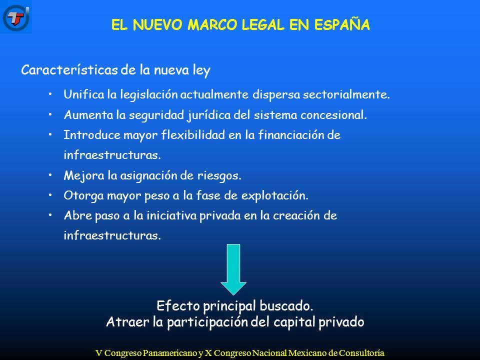 V Congreso Panamericano y X Congreso Nacional Mexicano de Consultoría Características de la nueva ley Unifica la legislación actualmente dispersa sectorialmente.