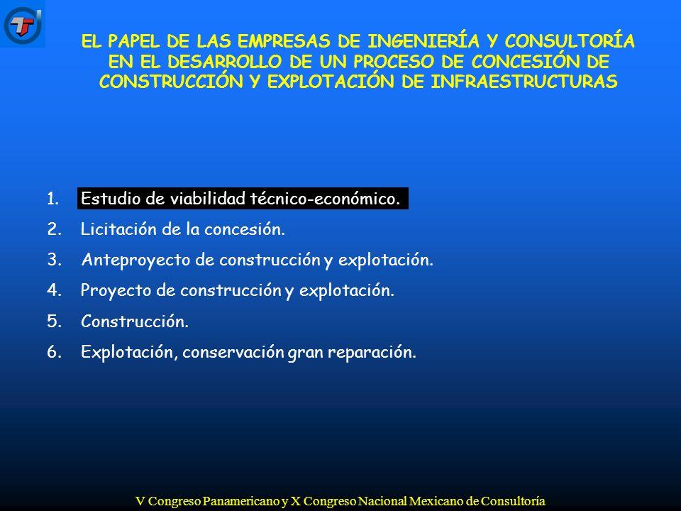 V Congreso Panamericano y X Congreso Nacional Mexicano de Consultoría 1.Estudio de viabilidad técnico-económico.