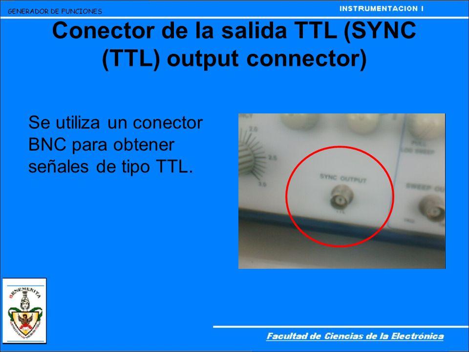 Conector de la salida TTL (SYNC (TTL) output connector) Se utiliza un conector BNC para obtener señales de tipo TTL.