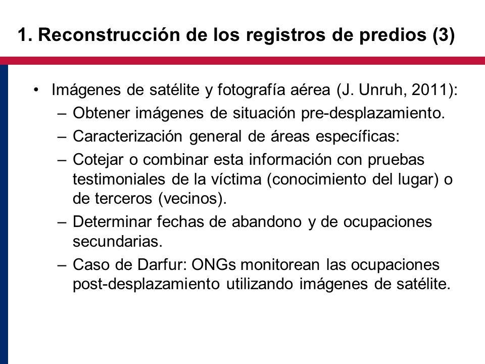 1. Reconstrucción de los registros de predios (3) Imágenes de satélite y fotografía aérea (J. Unruh, 2011): –Obtener imágenes de situación pre-desplaz