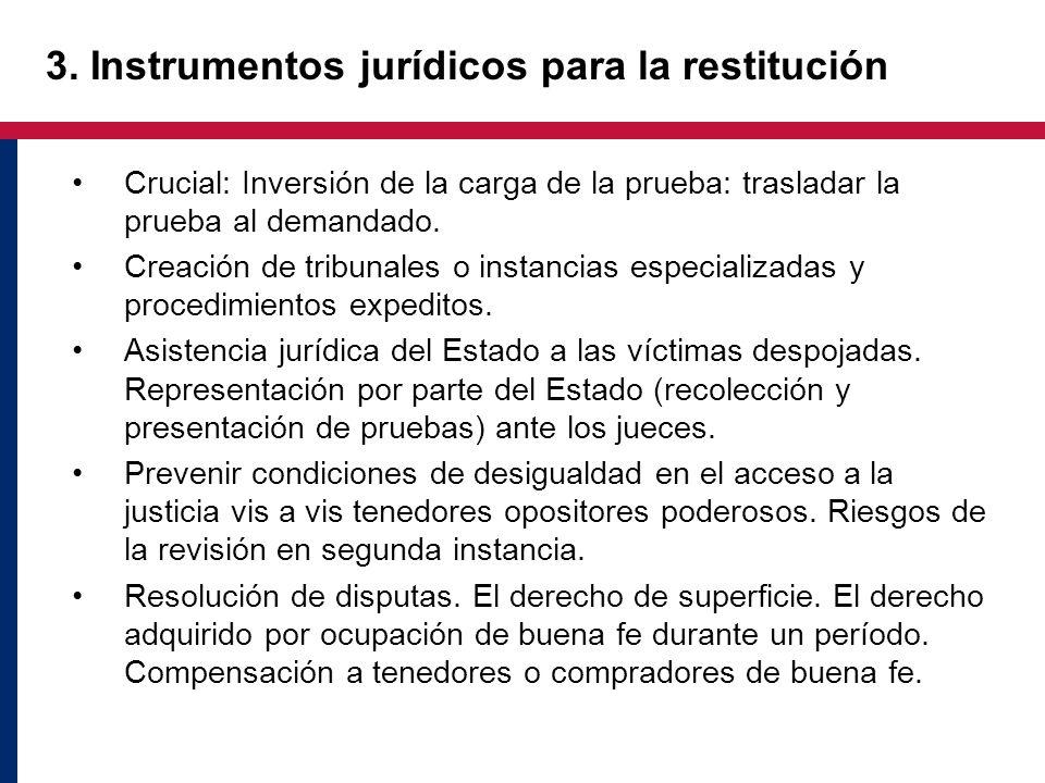 3. Instrumentos jurídicos para la restitución Crucial: Inversión de la carga de la prueba: trasladar la prueba al demandado. Creación de tribunales o