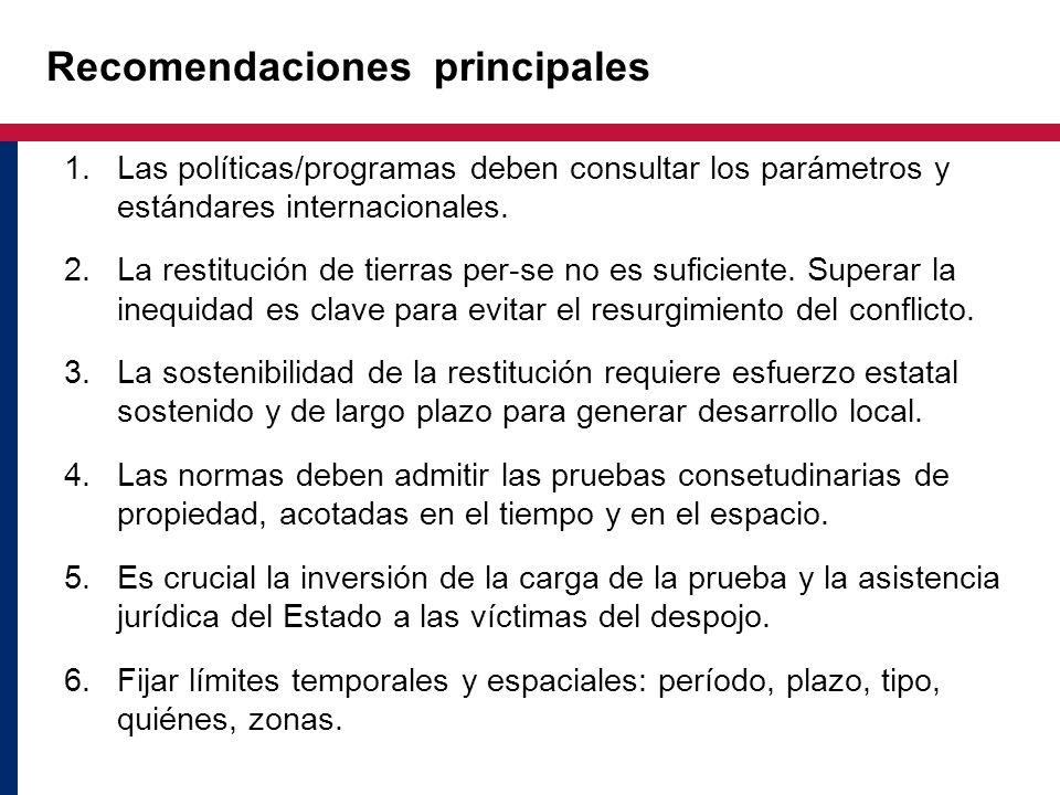 Recomendaciones principales 1.Las políticas/programas deben consultar los parámetros y estándares internacionales. 2.La restitución de tierras per-se